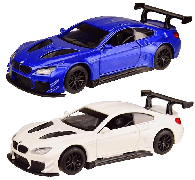 Колекційна модель БМВ М6 ГТ3 (BMW M6 GT3) металева машинка, 1:44, (біла, синя), Автопром