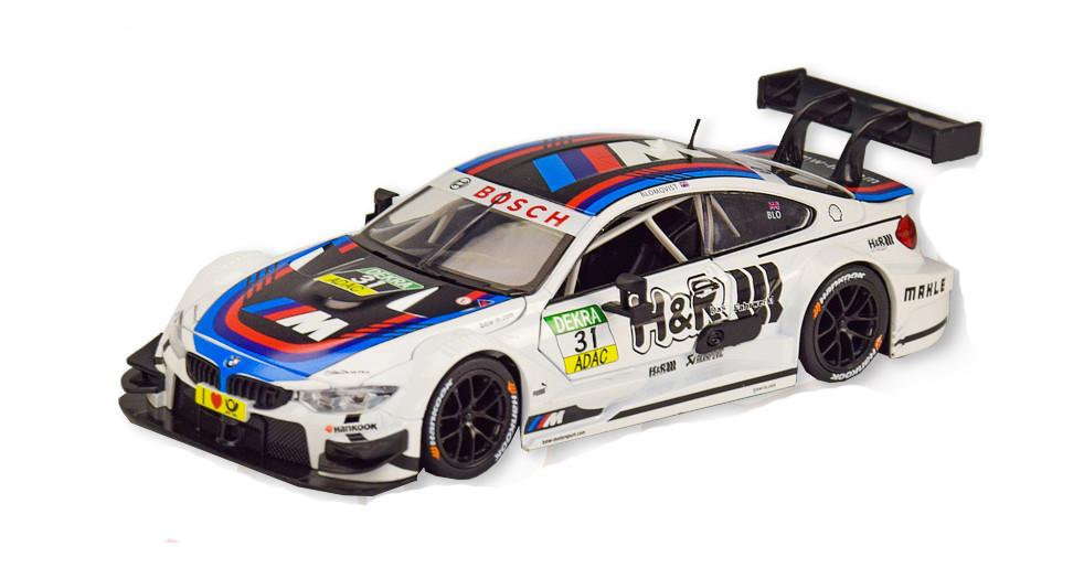 Колекційна модель БМВ М4 Спорт (BMW M4 DTM) металева машинка, 1:24, (біла), Автопром