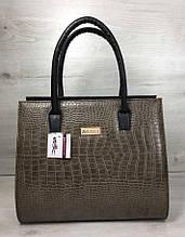 Женская сумка Aliri-316-17 черного цвета с вставкой под кожу крокодила