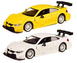Колекційна модель БМВ М4 ДТМ (BMW M4 DTM) металева машинка, 1:44, (біла, жовта), Автопром