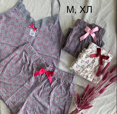 Комплект женский майка и шорты для сна и дома. Турция. Хлопок, фото 2