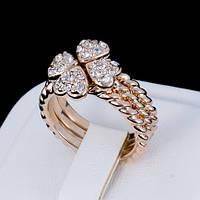Необыкновенное тройное кольцо - трансформер с кристаллами Swarovski, покрытое слоями золота 0933
