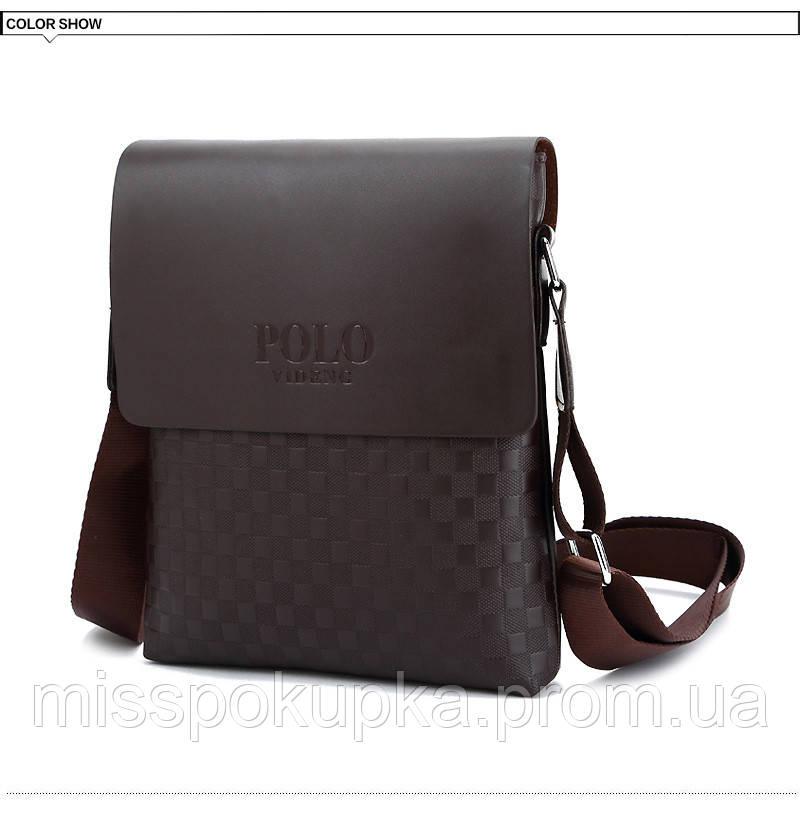 Мужская сумка через плечо Polo  Videng Parish коричневая