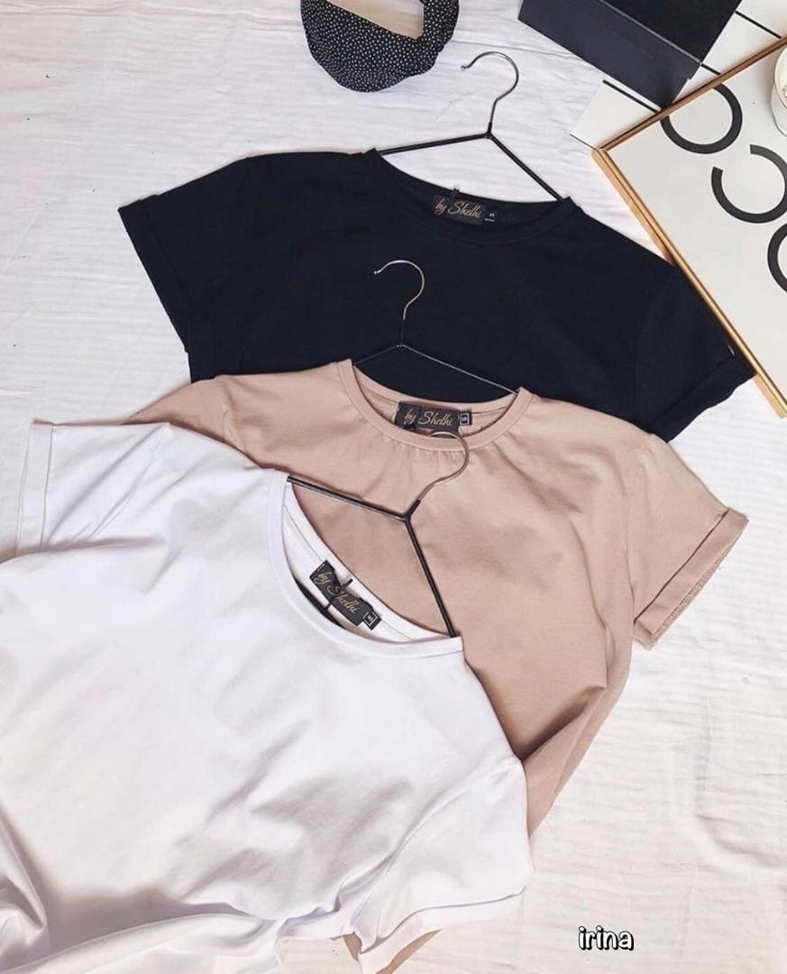 Женская футболка, турецкая двунить, р-р универсальный 42-46 (белый)