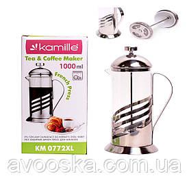 Заварник френчпресс для чая и кофе 1л Kamille KM-0772XL