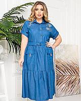Новинка! Гарне плаття з котону, батал, арт А425, колір джинс