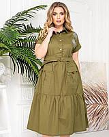 Новинка! Гарне плаття з котону, батал, арт А425, колір хакі