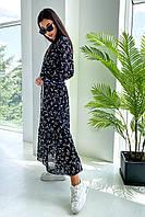 ✔️Женское шифоновое платье миди с длинным рукавом 42-48 размера с цветочным принтом разные расцветки