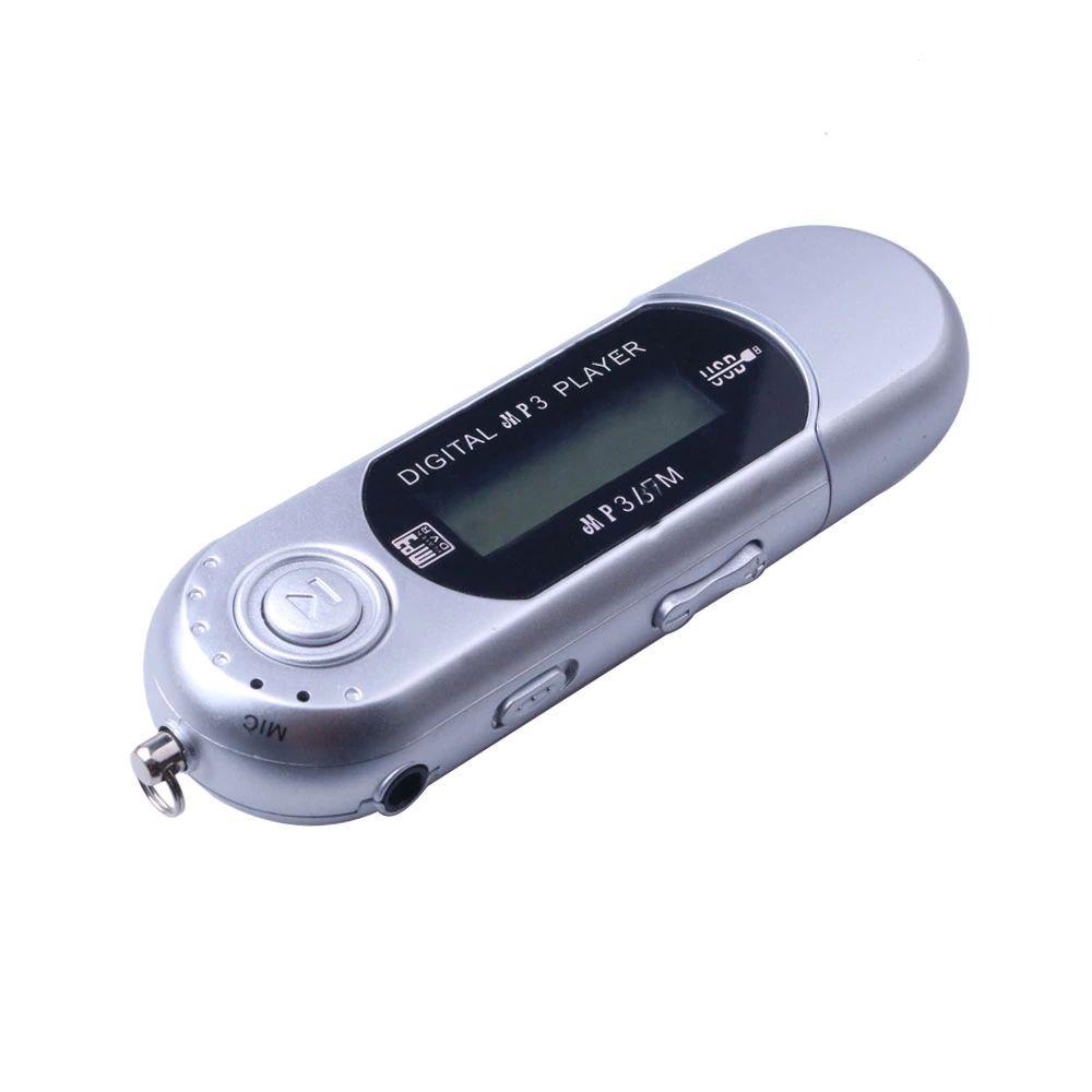Mp3 плеєр + FM радіо + USB (на батарейці ААА) сріблястий, русифіковане меню