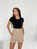 Женские короткие шорты с подворотом бежевый