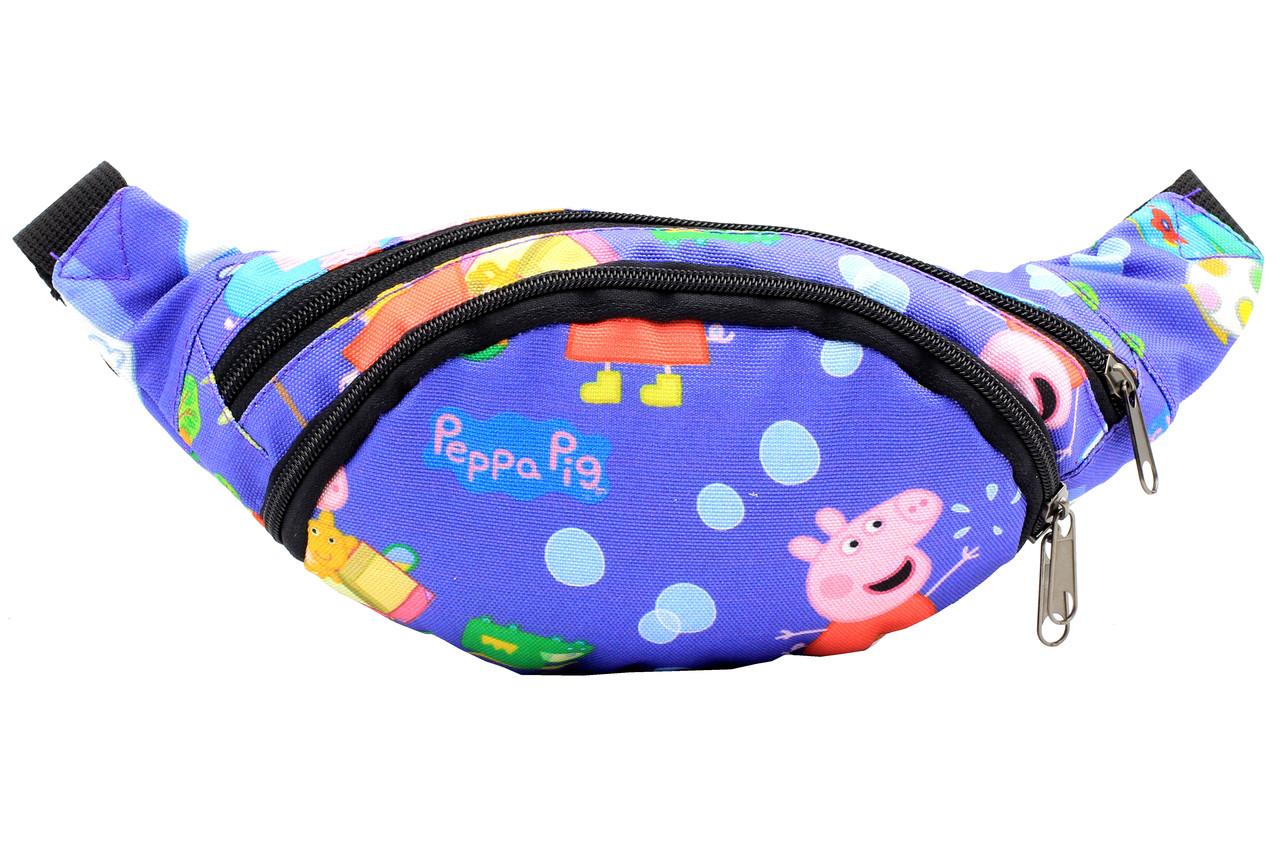 Напоясная сумка-бананка голубого цвета с рисунком свинки Пеппи
