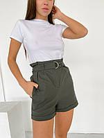 Женские короткие шорты с подворотом хаки