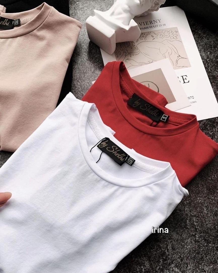 Жіноча футболка, турецька двунить, р-р універсальний 42-46 (червоний)