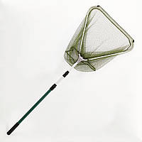Подсак BREEZE треугольный 70см, зеленая мелкая сетка, ручка тескоп