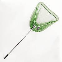 Подсак BREEZE треугольный 70см, зеленая прорезиненная сетка, круглая метал телескоп ручка