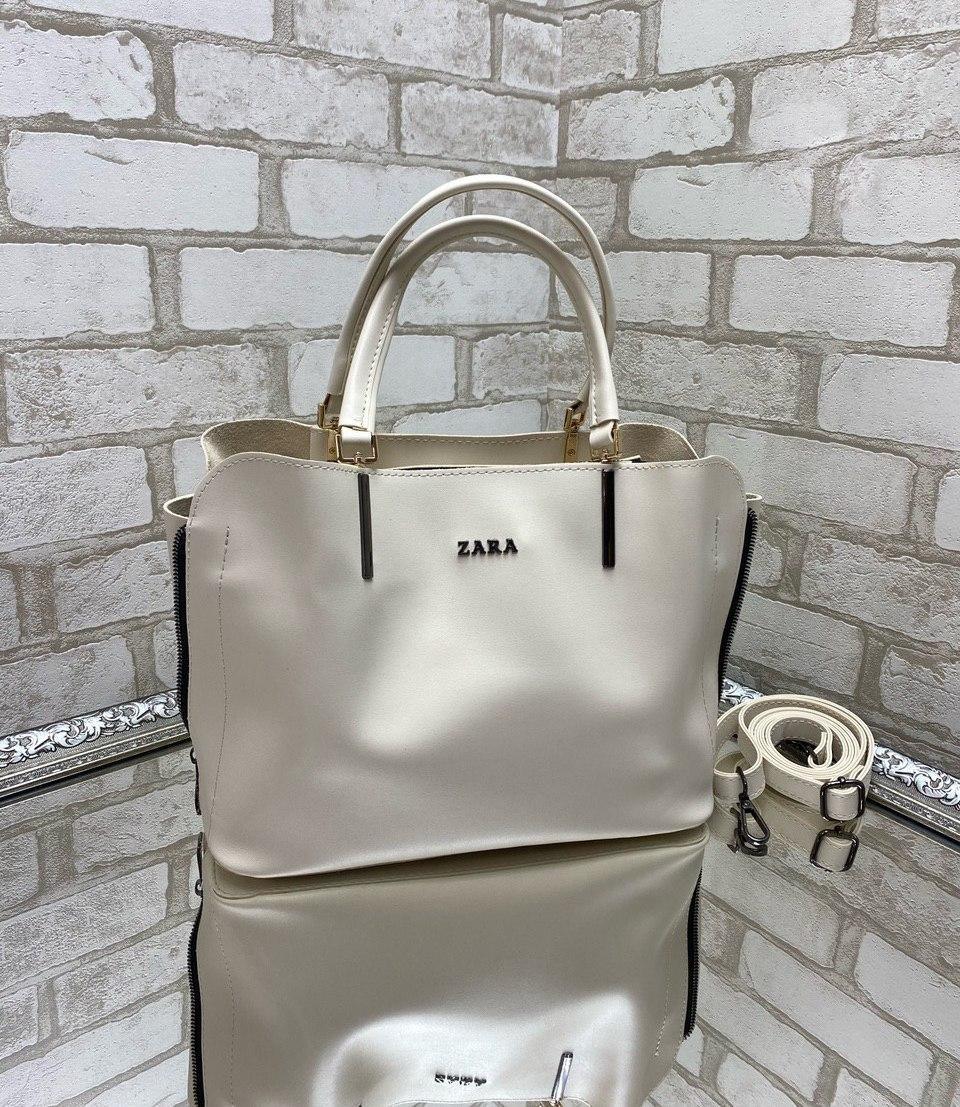 Светлая женская сумка среднего размера сумочка небольшая молочная экокожа