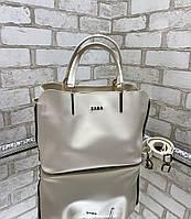 Светлая женская сумка среднего размера сумочка небольшая молочная экокожа, фото 1