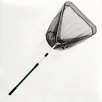 Подсак BREEZE треугольный 70см, черная прорезиненная сетка, зеленая телескоп ручка
