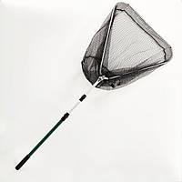 Подсак BREEZE треугольный 60см, черная прорезиненная сетка, зеленая телескоп ручка
