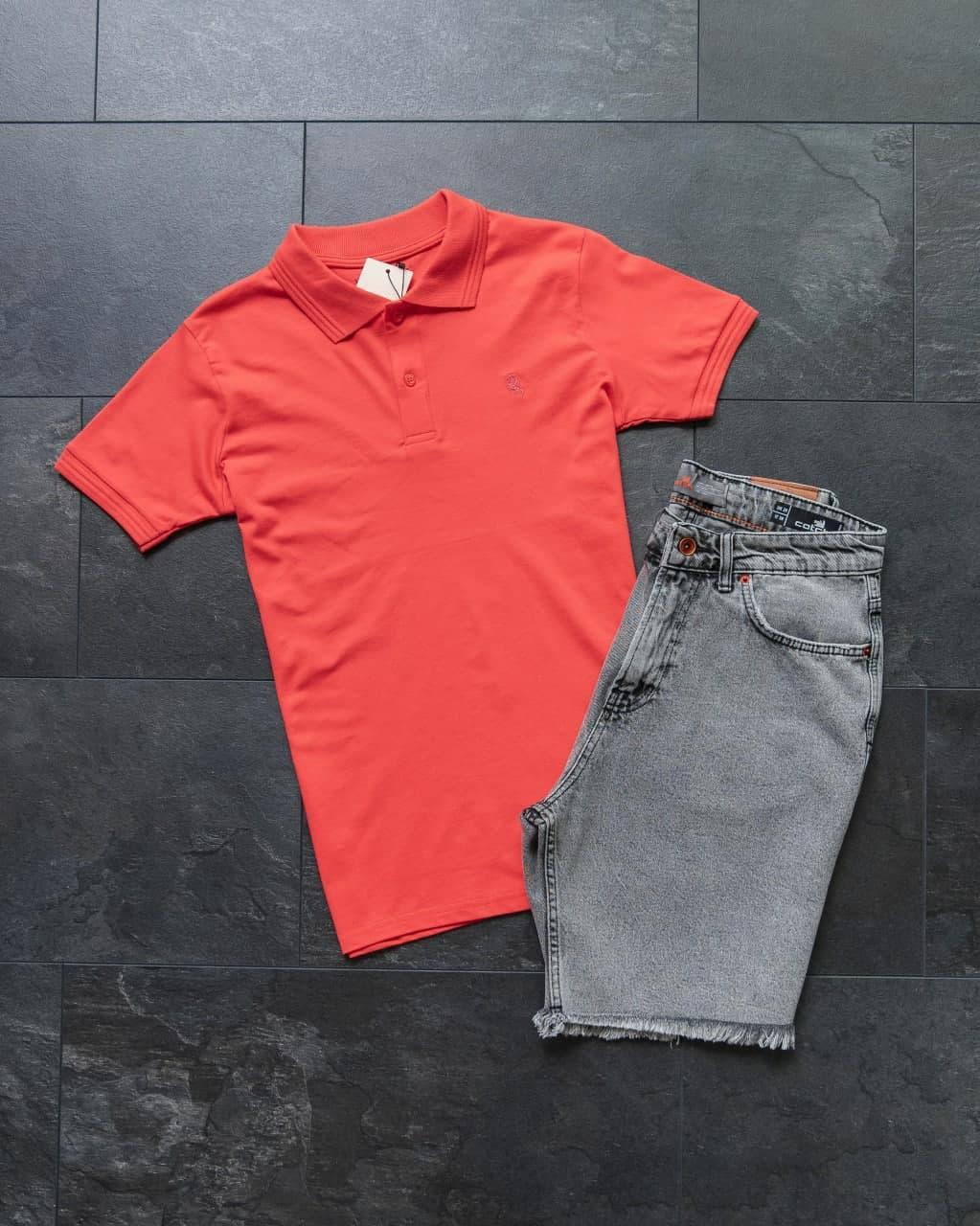 Чоловічий класичний/спортивний костюм/комплект червоний літо. Поло+шорти коттонТурция