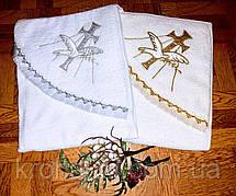 Крыжма для крещения с капюшоном - полотенце-уголок для крещения с вышивкой 80*90 см (Турция)