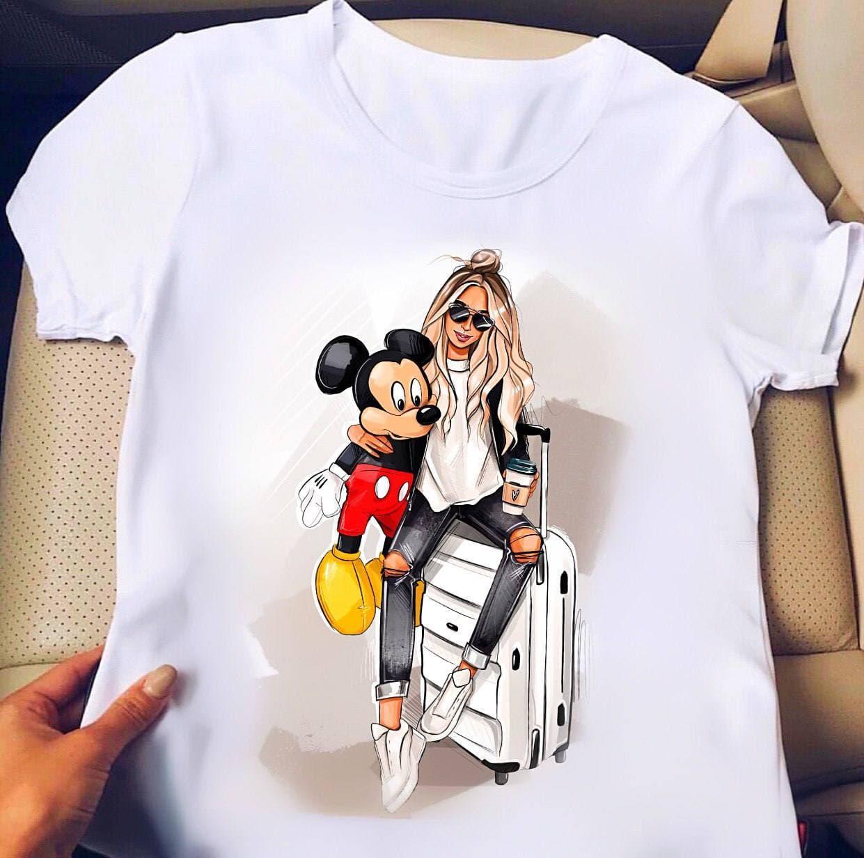 Женская хлопковая футболка с принтом Travel Minnie white