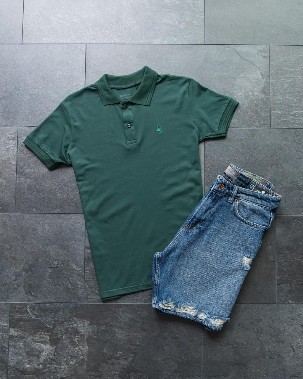 Чоловічий класичний/спортивний костюм/комплект зелений літо. Поло+шорти коттон Туреччина