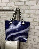 Синяя пляжная сумка вместительная яркая льняная с веревочными ручками