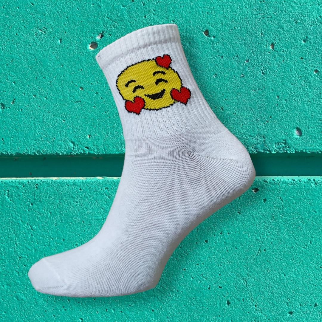 Шкарпетки смайли з сердем розмір 36-42