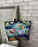 Большая пляжная сумка вместительная яркая льняная с веревочными ручками