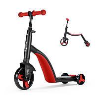Детский самокат, велобег, велосипед Nadle TF3-1 Red трехколесный для детей 3 в 1 с сиденьем складной