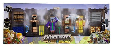 Набор фигурок Minecraft (Майнкрафт) серии Village&Pillage 12 предметов (Жители, Мобы, Герой, кубы)