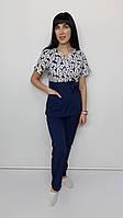 Жіночий медичний костюм принт Сакура-комбі Карти на синьому, фото 1