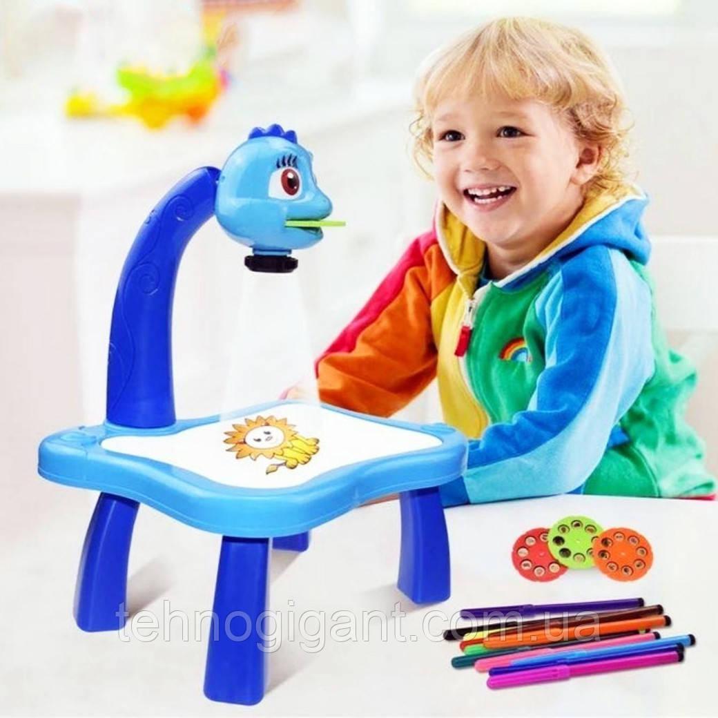 Детский проектор для рисования со слайдами Projector Painting проектор для детей со столиком Синий