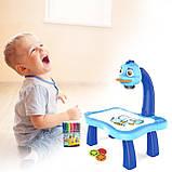 Детский проектор для рисования со слайдами Projector Painting проектор для детей со столиком Синий, фото 4