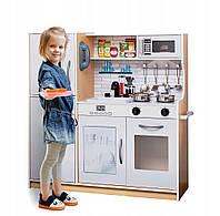 Большая деревянная кухня для детей. Металлические горшки 01648