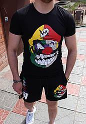 Клоун Мужской классический/спортивный костюм/комплект черный с принтом лето Футболка  + шорты Турция