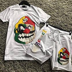 Клоун Мужской классический/спортивный костюм/комплект белый с принтом лето Футболка  + шорты Турция