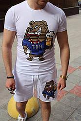 Dog TDH Мужской классический/спортивный костюм/комплект белый с принтом лето Футболка  + шорты Турция