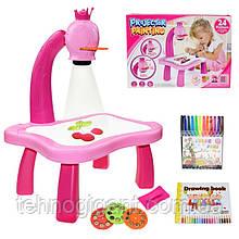 Дитячий проектор для малювання зі слайдами Projector Painting проектор для дітей зі столиком Рожевий