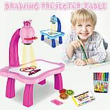 Дитячий проектор для малювання зі слайдами Projector Painting проектор для дітей зі столиком Рожевий, фото 3