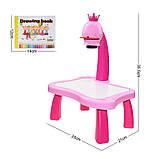 Дитячий проектор для малювання зі слайдами Projector Painting проектор для дітей зі столиком Рожевий, фото 6