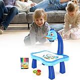 Дитячий проектор для малювання зі слайдами Projector Painting проектор для дітей зі столиком Синій, фото 2