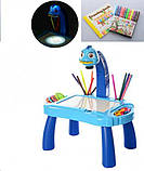 Дитячий проектор для малювання зі слайдами Projector Painting проектор для дітей зі столиком Синій, фото 3