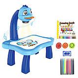 Дитячий проектор для малювання зі слайдами Projector Painting проектор для дітей зі столиком Синій, фото 5