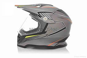 Шлем кроссовый  VLAND  #819-7 +визор, L, Grey mat