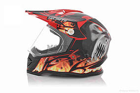 Шлем кроссовый  VLAND  #819-7 +визор, M, Black/Red