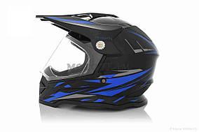 Шлем кроссовый  VLAND  #819-7 +визор, S, Black/Blue