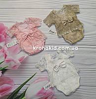 Детское нарядное ажурное боди с повязкой для новорожденного на выписку, крещение 56, 62, 68, 74, 80 см