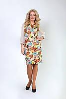 Стильное платье в цветочный принт с шифоновым рукавом